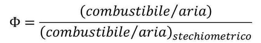 Il rapporto equivalente nella reazione di combustione