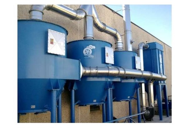 Dust collector with three active carbon filters