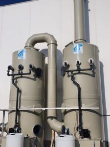 Scrubber per trattamento fumi basici da lavaggio piastre acciaio inox