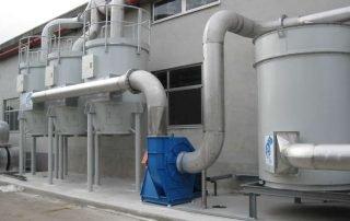 Impianto multistadio per abbattimento vapori di stirene